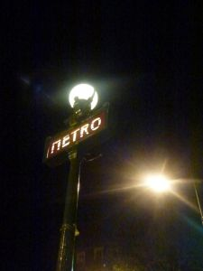 Parisian Metro night, Paris, France