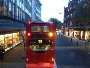 rainy day, London, double-decker bus