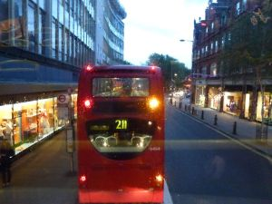 rainy day, London, double-decker bus