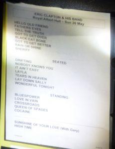 Eric Clapton, Eric Clapton at the Royal Albert Hall, London, England, song list