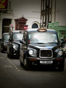 London cabs, taxis, Covent Gardens, London