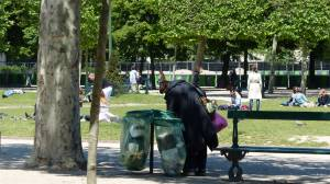 steel, Eiffel, 7th arrondissement, tower, icon of Paris, Paris, France, tower. garbage picker