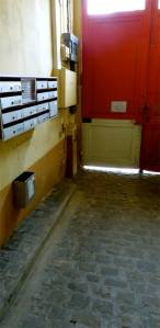 cobblestones, Parisian apartment, door, entrance, mailbox, 19th arrondissement, Paris, France