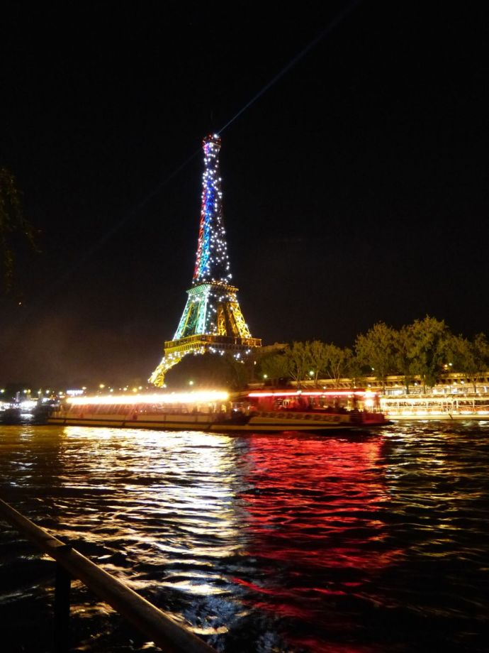Eiffel Tower, Paris, France, colors, twinkle, night view of the tower, 6th arrondissement