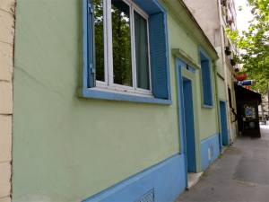 19th arrondissement, Quartier de la Mouzaia, Paris, France, window, door, blue and green façade, building