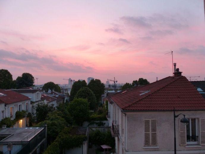 Rooftops, windows, 19th arrondissement, Paris, France