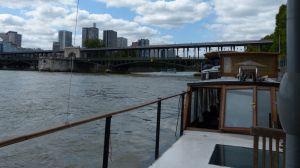 péniche, Soleil, River Seine, 7th arrondissement, houseboat, boat, Paris, France, quay, river,