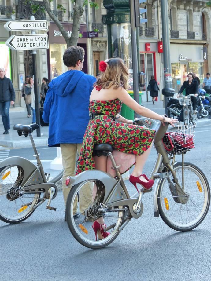 Paris, France, bicycles, high heels