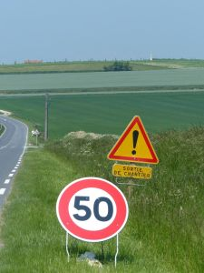 Villers Bretonneux, France, road, road signs, km per hour