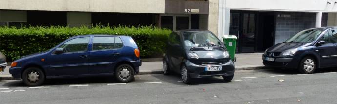 Parking in Paris, France, illegally parked, ticket