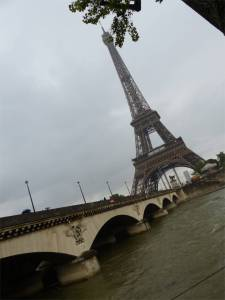 River Seine, Paris, France, Eiffel Tower, quay, houseboat, bridge