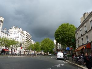 20th arrondissement, Paris, France, rain, cloudy day, clouds