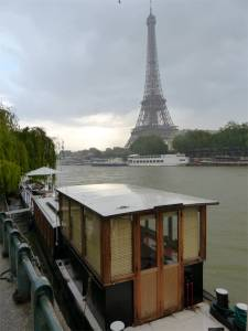 houseboat, Soleil, Paris, France, River Seine, Eiffel Tower