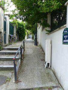 19th arrondissement, Quartier de la Mouzaia, villas, pedestrian street, Paris, France, cobblestone street,
