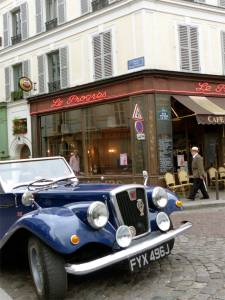 antique car, Le Progrés, Paris, France, street scene, cobblestones, café, Parisian bistro