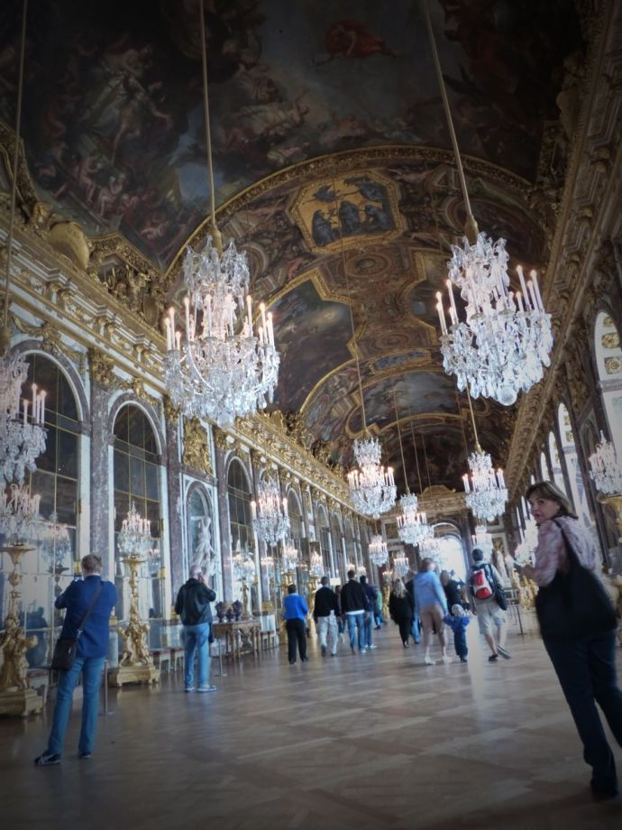 Versailles, Ile-de-France, France, palace, The Palace, tourists, crowds, Hall of Mirrors