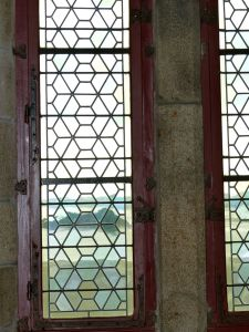 Normandy, France,  pilgrimage, abbey, island, window, stained glass