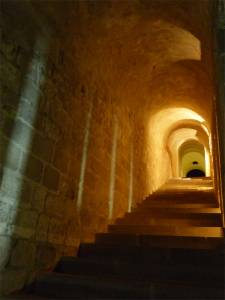 Normandy, France,  pilgrimage, abbey, island, hallway