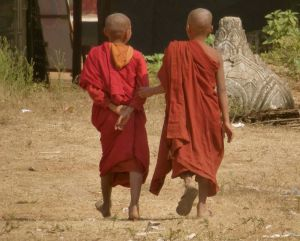 Monks, kids, leaving