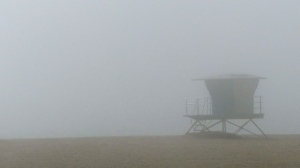 Lifeguards, Long Beach, fog, beach