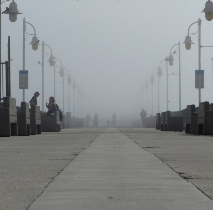 pier, Long Beach, fog