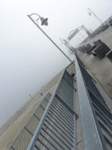 pier, beach, Long Beach, fog