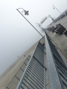 pier, beach, Long Beach, fog