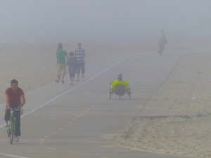 Long Beach, fog, pedestrian path, bike path
