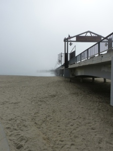 pier, Long Beach, fog, beach, sand