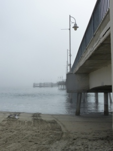 pier, Long Beach, beach, fog