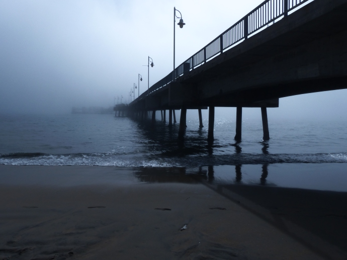 Belmont Veterans Memorial Pier, Long Beach, pier, fog
