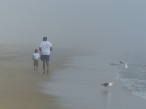 Long Beach, beach, fog, runners, father and son