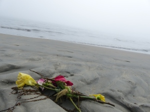 Long Beach, beach, fog, flowers, offering