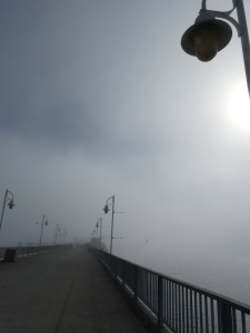 Long Beach, beach, fog, pier